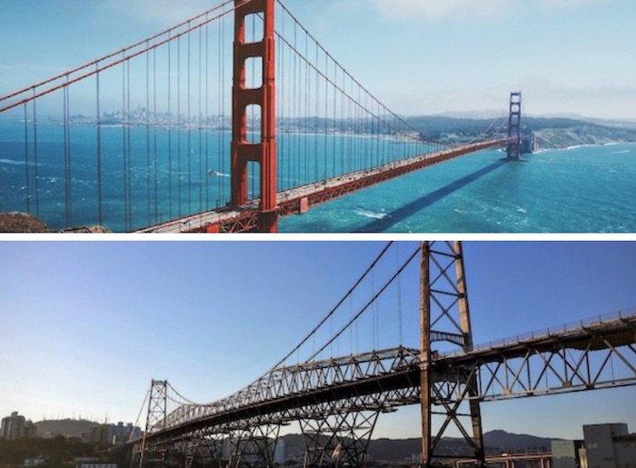 pontes famosas em Santa Catarina e na Califórnia